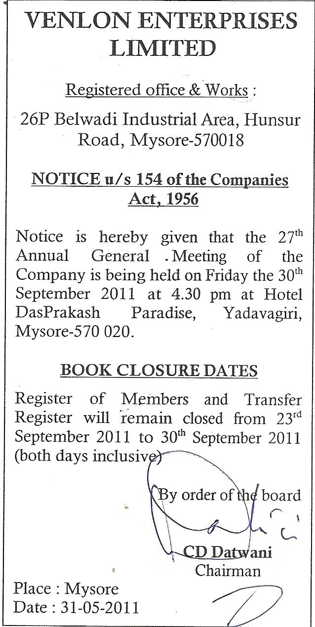 Venlon enterprises public listed company notice us 154 of the companies act 1956 platinumwayz
